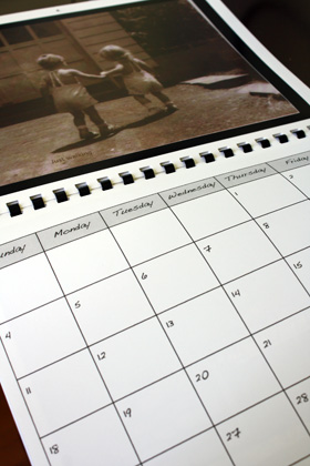 Example calendar with old photo of children holding hands